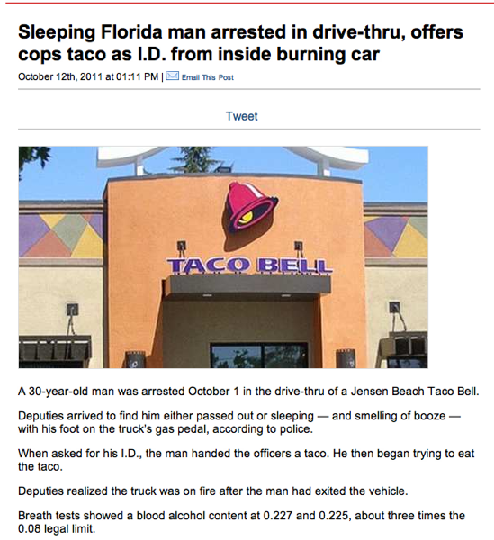 Burning car tacos