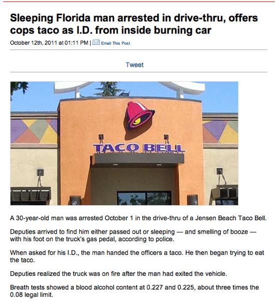 Burning car tacos