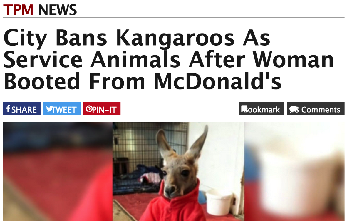City Bans Kangaroos As Service Animals After Woman Booted From McDonald's